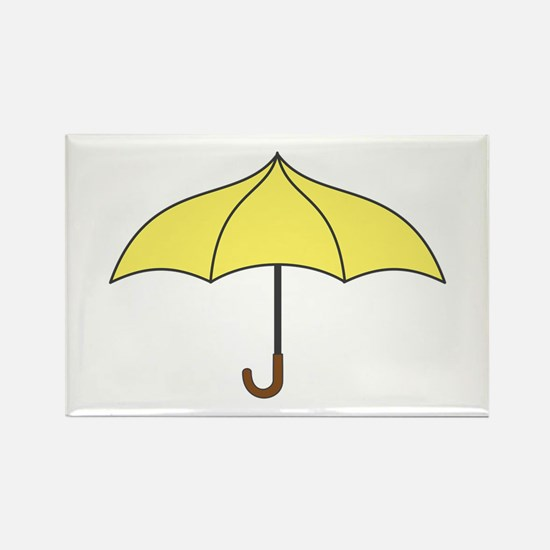 Yellow Umbrella Rectangle Magnet