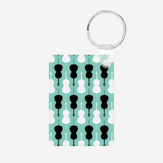 Cello Pattern - Teal Keychains