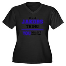 Funny Jakob Women's Plus Size V-Neck Dark T-Shirt