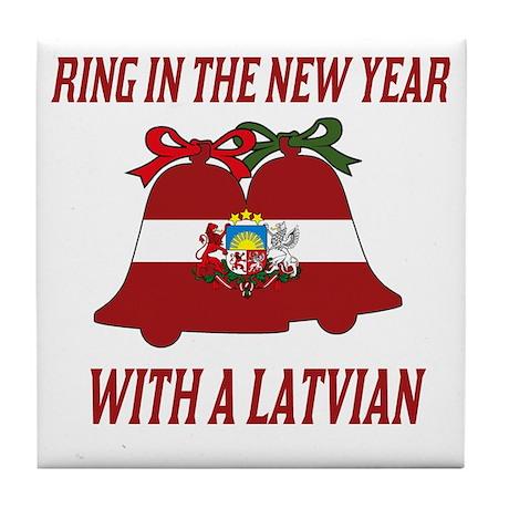 Latvian New Years Tile Coaster