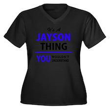 Cute Jayson Women's Plus Size V-Neck Dark T-Shirt