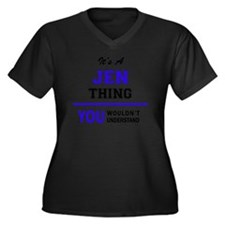 Funny Jen Women's Plus Size V-Neck Dark T-Shirt