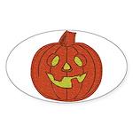 Grinning Halloween Pumpkin Oval Sticker