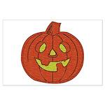 Grinning Halloween Pumpkin Large Poster