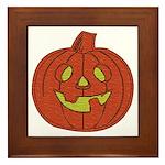Grinning Halloween Pumpkin Framed Tile