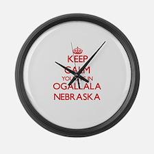 Keep calm you live in Ogallala Ne Large Wall Clock