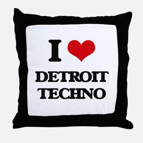 I Love DETROIT TECHNO Throw Pillow