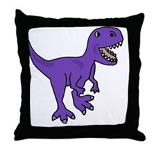 Purple T-Rex Dinosaur Throw Pillow