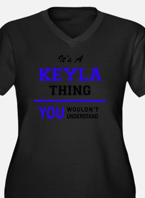 Cute Keyla Women's Plus Size V-Neck Dark T-Shirt