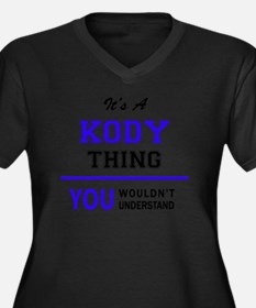 Cute Kody Women's Plus Size V-Neck Dark T-Shirt