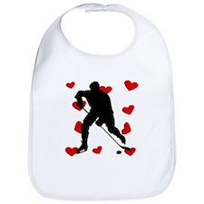 Hockey Player Hearts Bib