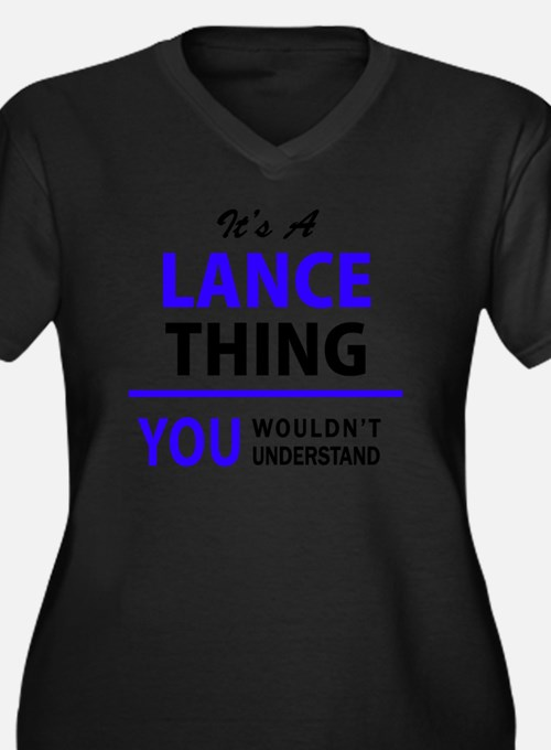 Cute Lance Women's Plus Size V-Neck Dark T-Shirt