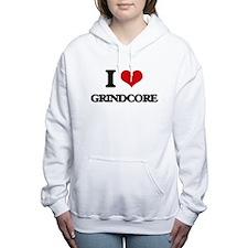 I Love GRINDCORE Women's Hooded Sweatshirt