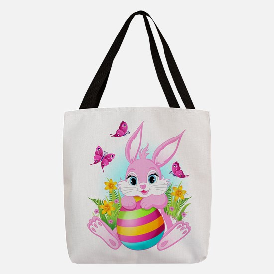 Pink Easter Bunny Polyester Tote Bag