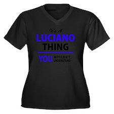 Cute Luciano Women's Plus Size V-Neck Dark T-Shirt