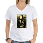 Mona Lisa/Rottweiler Women's V-Neck T-Shirt