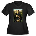 Mona Lisa/Rottweiler Women's Plus Size V-Neck Dark
