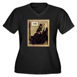 Mom's Rottweiler Women's Plus Size V-Neck Dark T-S