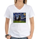 Starry Night Rottweiler Women's V-Neck T-Shirt