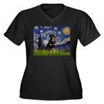 Starry Night Rottweiler Women's Plus Size V-Neck D