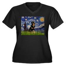 Starry Night Rottweiler Women's Plus Size V-Neck D