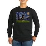 Starry Night Rottweiler Long Sleeve Dark T-Shirt
