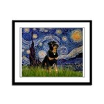Starry Night Rottweiler Framed Panel Print