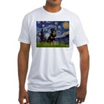 Starry Night Rottweiler Fitted T-Shirt