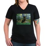 Bridge / Rottie Women's V-Neck Dark T-Shirt