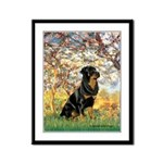 Spring / Rottweiler Framed Panel Print