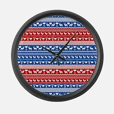 Ski Sweater Pattern Large Wall Clock