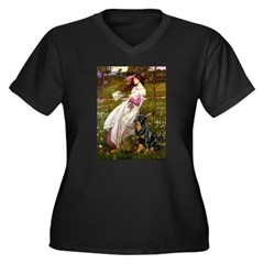 Windflowers / Rottweiler Women's Plus Size V-Neck