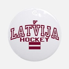 LV Latvija/Latvia Ice Hockey Ornament (Round)