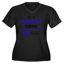 Unique Marques Women's Plus Size V-Neck Dark T-Shirt