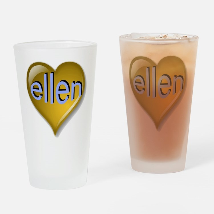 Love ellen Golden Heart Drinking Glass