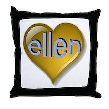 Love ellen Golden Heart Throw Pillow