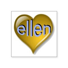 "Love ellen Golden Heart Square Sticker 3"" x 3"""