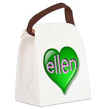 Love ellen Emerald Heart Canvas Lunch Bag