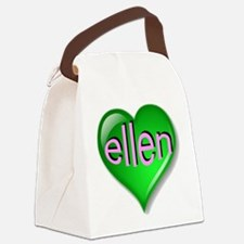 Love ellen Emerald Heart Canvas Lunch Bag