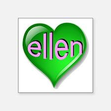 """Love ellen Emerald Heart Square Sticker 3"""" x 3"""""""