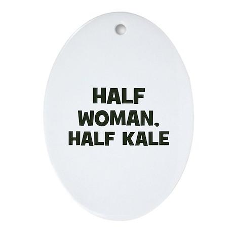 half woman, half kale Oval Ornament