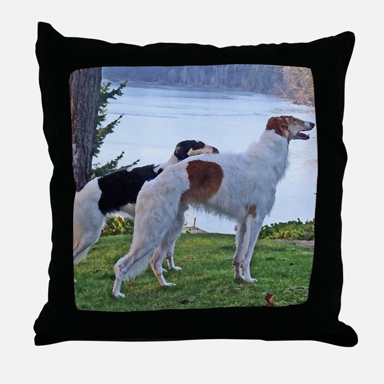 The Lake Borzoi Duo Throw Pillow