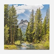 Mountain River Scene Tile Coaster