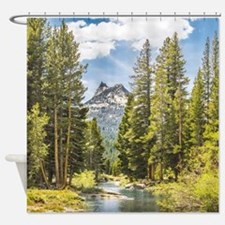 Mountain River Scene Shower Curtain