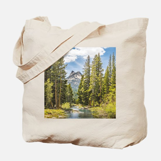 Mountain River Scene Tote Bag