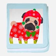 Snowflake Pug baby blanket