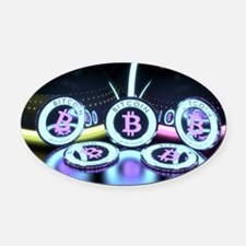 Bitcoin Tron Design Oval Car Magnet