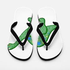 Green Playful Dinosaur Flip Flops