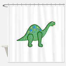 Green Playful Dinosaur Shower Curtain