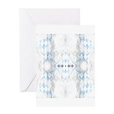 Distressed Blue White Argyle Greeting Cards